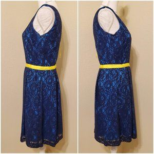 "Miss Sixty Dresses - M60 MISS SIXTY ""Willa"" Lace Overlay Blue Dress"